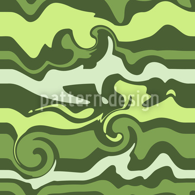Green Wave Chaos Seamless Vector Pattern