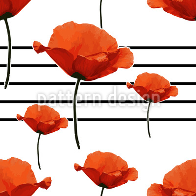 Melody Of The Poppy Flowers Repeating Pattern
