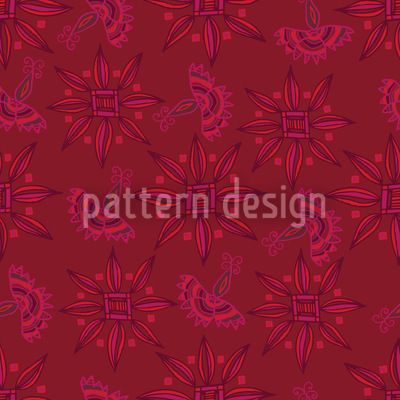 Flora In Cranberry Repeating Pattern
