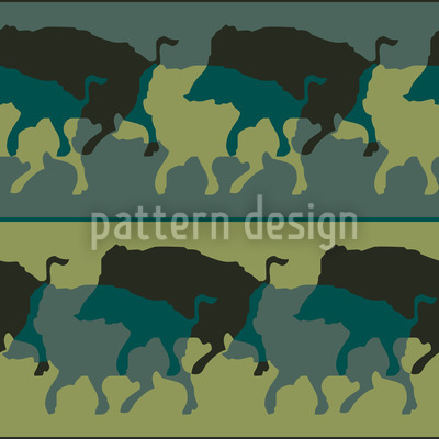Wild Boar In Green Seamless Vector Pattern