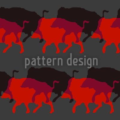 Wildschweinherde In Rot Vektor Muster