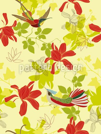 Isle Of The Paradise Birds Vector Pattern