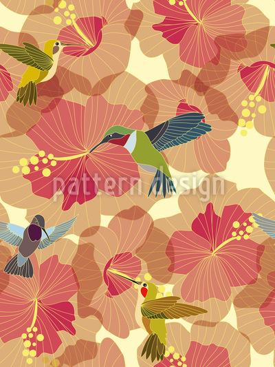 Kolibri Hochzeit Im Hibiskus Vektor Design