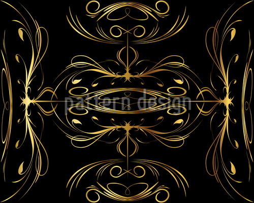 Flourishes In Gold Pattern Design