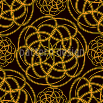 Golden Wheels Vector Pattern