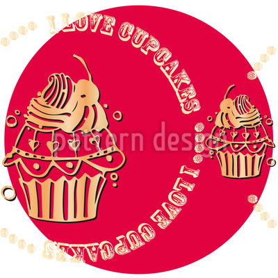 Cupcake Love Pink Seamless Vector Pattern