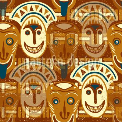 Popocatepetls Faces Seamless Pattern