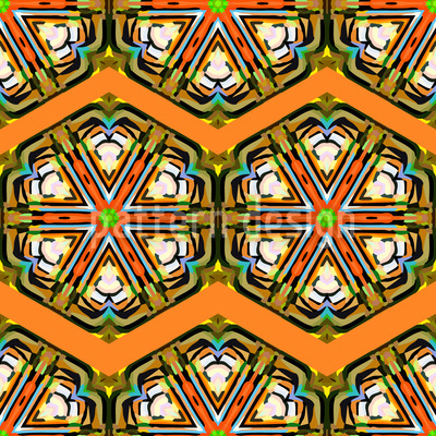 Kaleidoscope Zig Zag Brown Vector Pattern