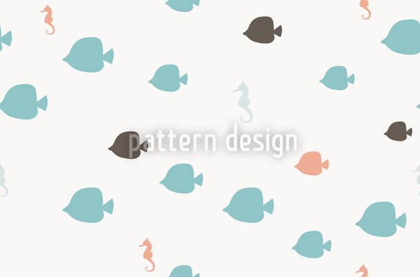 Fishes And Seahorses Pattern Design