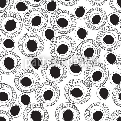 Black And White Fantasy Repeat Pattern