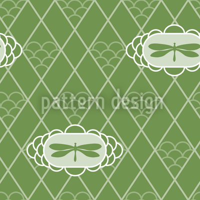 Dragonflies Verde Vector Ornament