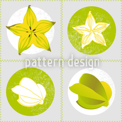 Fresh Carambola Seamless Vector Pattern