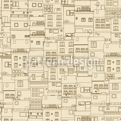 Kleine Seite Der Stadt Monochrom Nahtloses Vektor Muster