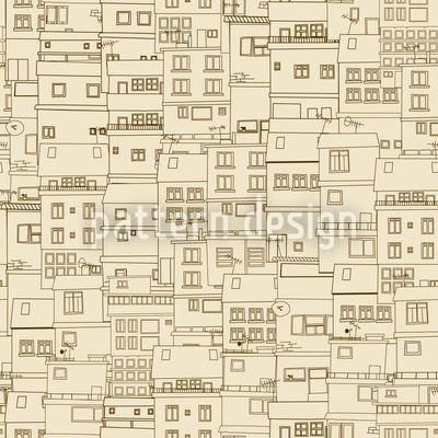 Small Part Of Town Monochrome Seamless Vector Pattern