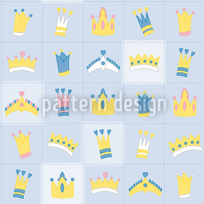 Royal Crowns Blue Repeat Pattern