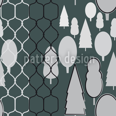 Fency Forest Monochrome Vector Ornament