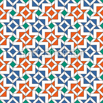 Geometric Alhambra Repeating Pattern