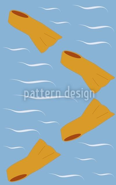 Schwimmflossen In Orange Haben Saison Vektor Muster