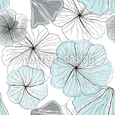 Hibiskusblüten Aqua Vektor Ornament