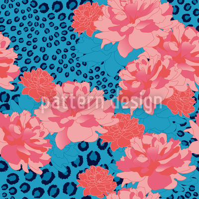 Leopards Love Peonies Pattern Design