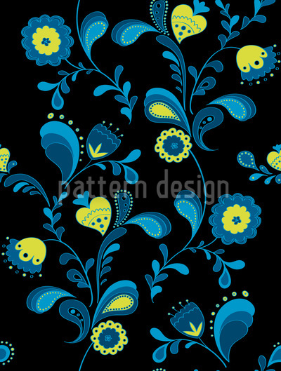 Paisley Flowers By Midnight Pattern Design