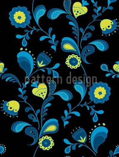 Paisleyblumen Bei Mitternacht Musterdesign