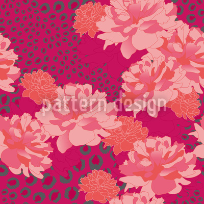 Leopards And Peonies Vector Pattern