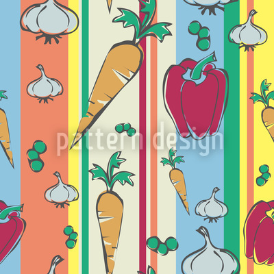 Colorful Vegetables Vector Pattern