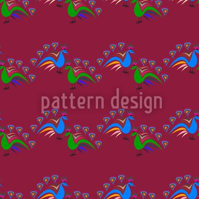 Peacocks Dance Repeating Pattern