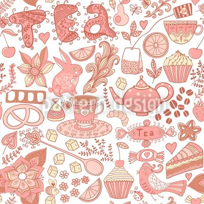 Tea Party In Wonderland Seamless Pattern