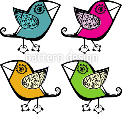 Four Cute Birds Vector Design