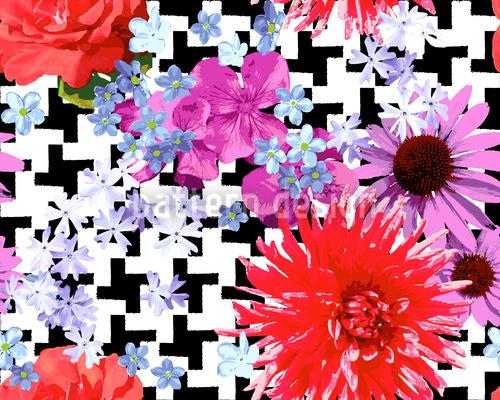 Hahnentritt Floral Vektor Design