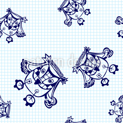 Owls Fly Over The Maths Book Seamless Pattern