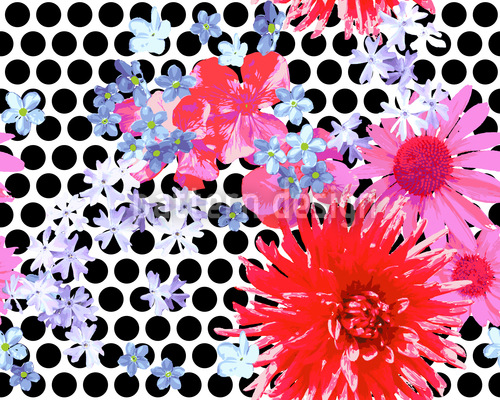Scattered Flowers Avantgarde Repeating Pattern