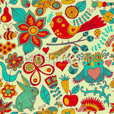 Summer In The Magic Forest Repeating Pattern