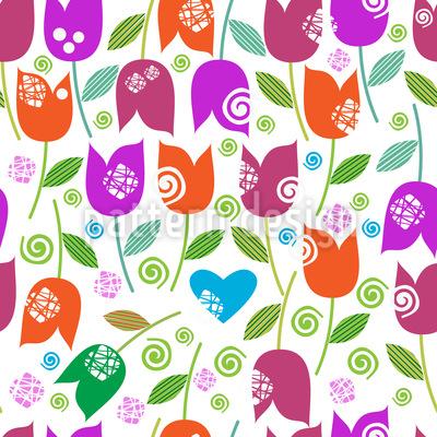 Fröhlicher Tulpen Mix Musterdesign