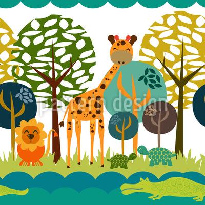 African Safari Club Pattern Design
