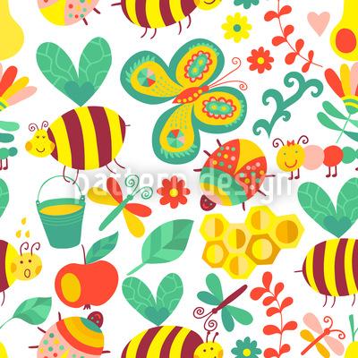 Fleissige Honig Bienchen Muster Design