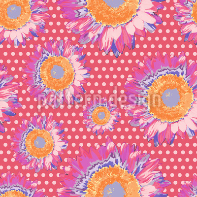 Sonnenblumen Auf Polka Dot Vektor Design