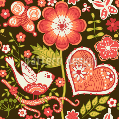 Love Confessions In The Folklore Garden Vector Pattern
