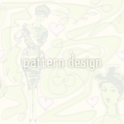 Moneypenny In Love Vector Pattern