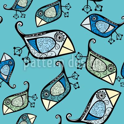 Kleine Paradiesvögel Nahtloses Vektor Muster
