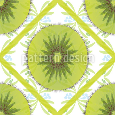 Floral Kiwi Check Vector Design