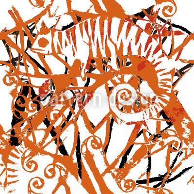 Chamäleon Orange Nahtloses Muster