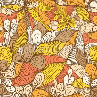 Goldene Blumen Spinnen Designmuster