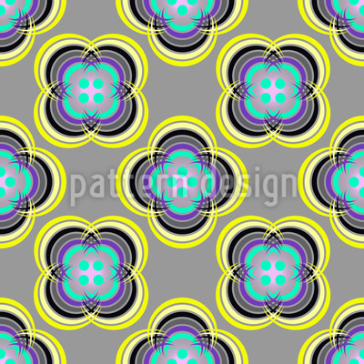 Button Flowers Seamless Pattern