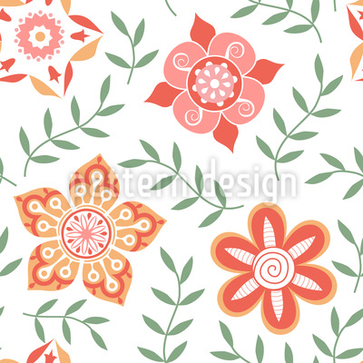 Russian Flower Compliments Vector Pattern