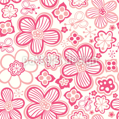 Butterflies Love Candy Flowers Repeating Pattern