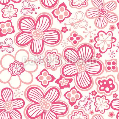 Schmetterlinge Lieben Zuckerblumen Rapportiertes Design