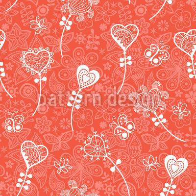 Heart Flower Fantasy Seamless Vector Pattern